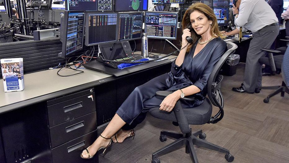 Cindy Crawford, the supermodel, mans phones for 9/11 fund raising